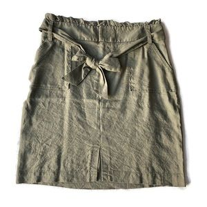 INC Paper Bag High Rise Skirt Olive Size Small